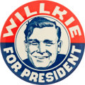 Political:Pinback Buttons (1896-present), Wendell Willkie: Classic Happy Face Button. ...