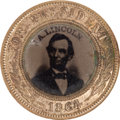 Political:Ferrotypes / Photo Badges (pre-1896), Abraham Lincoln: Single Portrait 1864 Campaign Badge....
