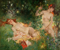 HOWARD CHANDLER CHRISTY (American, 1872-1952) Nymphs in Summer, 1946 oil on canvas 60.5 x 72 in.<