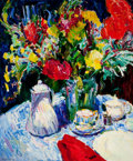 American:Modern, AMERICAN SCHOOL (20th Century). Nicole's Bouquet. Oil oncanvas . 39 x 33 inches (99.1 x 83.8 cm). Signed indistinctly l...