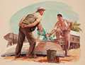 Pulp, Pulp-like, Digests, and Paperback Art, JOHN GOULD (American, 1906-1996). Discussing Strategy, SaturdayEvening Post story illustration, circa 1940s. Gouache an...