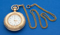 Timepieces:Pocket (post 1900), Waltham 14k Gold 44 mm Royal Open Face With 14k Gold Neck Chain....