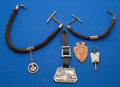 Timepieces:Other , Two Hair Chains Two Fobs One Antique Silver Key & Cufflink Watch. ... (Total: 7 Items)