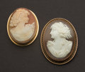 Estate Jewelry:Cameos, Two Antique Gold Cameos. ...