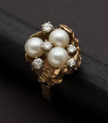 Estate Jewelry:Rings, Spectacular Diamond & Pearl Gold Ring. ...