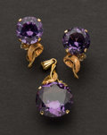 Estate Jewelry:Other , Purple Stone Gold Pendant & Earrings. ... (Total: 2 Items)