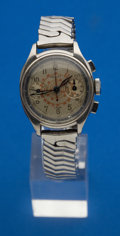 Timepieces:Wristwatch, Gallet 3/4 Size Steel Chronograph For Repair. ...
