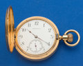 Timepieces:Pocket (post 1900), Tiffany 51 mm 18k Gold Hunter's Case Pocket Watch. ...