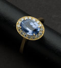 Estate Jewelry:Rings, Superb Light Corn Flower Blue Sapphire Diamond & Gold Ring. ...