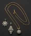 Estate Jewelry:Pendants and Lockets, Three Diamond & Gold Pendants. ... (Total: 3 Items)