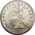 Seated Dollars, 1847 $1 MS63 PCGS. CAC....