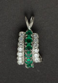 Estate Jewelry:Pendants and Lockets, Estate Emerald & Platinum Pendant. ...