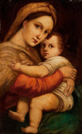 Mainstream Illustration, EUROPEAN ARTIST (19th century-). Mother and Child. Oil oncanvas. 16 x 22 in.. Not signed. ...