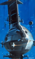 Pulp, Pulp-like, Digests, and Paperback Art, JOHN CONRAD BERKEY (American, 1932-2008). Derelict, No. 2,original book cover preliminary illustration. Tempera onboar...
