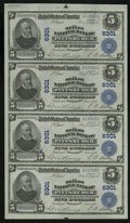 National Bank Notes:Pennsylvania, Pittsburgh, PA - $5-$5-$5-$5 1902 Plain Back Fr. 598 The Mellon NBCh. # 6301 Uncut Sheet. This is a very interesting un...