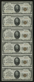 National Bank Notes:Pennsylvania, West Middlesex, PA - $20 1929 Ty. 2 The First NB Ch. # 6913 UncutSheet. A lovely uncut Type 2 serial number 1-6 sheet w...