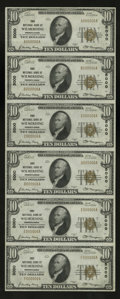 National Bank Notes:Pennsylvania, Wilmerding, PA - $10 1929 Ty. 1 First NB Ch. # 5000 Uncut Sheet. This is a most attractive all 6 serial number uncut she...