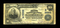 National Bank Notes:Tennessee, Savannah, TN - $10 1902 Plain Back Fr. 626 The First NB Ch. #(S)8889. A more than acceptable large note from the only b...