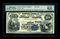 National Bank Notes:West Virginia, Grafton, WV - $10 1882 Value Back Fr. 577 The First NB Ch. #(S)2445. This PMG Choice Uncirculated 64 is one of only...