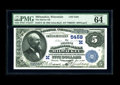 National Bank Notes:Wisconsin, Milwaukee, WI - $5 1882 Value Back Fr. 574 The Marine NB Ch. # (M)5458. An attractive Value Back which is part of a grou...