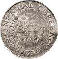 Colonials: , 1776 $1 Continental Dollar, CURRENCY, Pewter AU53 PCGS. Crosby Pl. VIII, 16. Newman 2-C. Breen-1092. The fields are gunmeta...
