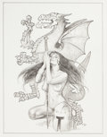 Mainstream Illustration, SANJULIAN (Spanish, b. 1941). Lady Warrior with Dragon.Pencil on paper. 14.25 x 11 in.. Initialed lower right. ...