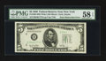 Error Notes:Obstruction Errors, Fr. 1961-B $5 1950 Wide I Federal Reserve Note. PMG Choice AboutUnc 58 EPQ.. ...