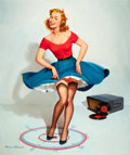 """Pin-up and Glamour Art, HARRY EKMAN (American, 1923-1999). """"I Don't Go Far in AnyDirection"""", calendar illustration, February 1962. Oil oncanva... (Total: 5 )"""
