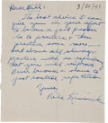 Football Collectibles:Others, 1941 Nile Kinnick Handwritten Signed Letter....