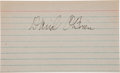 Football Collectibles:Others, Circa 1960's Davey O'Brien Signed Index Card....