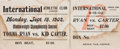 Boxing Collectibles:Memorabilia, 1902 Tommy Ryan vs. Kid Carter Full Ticket....