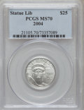 Modern Bullion Coins, 2004 P$25 Quarter-Ounce Platinum Eagle MS70 PCGS. PCGS Population(194). NGC Census: (2491). Numismedia Wsl. Price for pro...