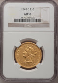 Liberty Eagles, 1843-O $10 AU53 NGC. Variety 2....