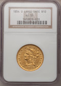 Liberty Eagles, 1854-O $10 Large Date AU55 NGC. Variety 1....