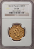 Liberty Eagles, 1854-O $10 Small Date AU50 NGC. Variety 1....