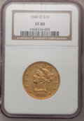 Liberty Eagles, 1849-O $10 XF40 NGC. Variety 3....