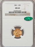 Gold Dollars, 1861 G$1 MS64 NGC. CAC....