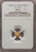 California Fractional Gold, 1880 25C Indian Octagonal 25 Cents, BG-799Y, High R.4, MS65 NGC....