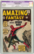 Silver Age (1956-1969):Superhero, Amazing Fantasy #15 (Marvel, 1962) CGC Apparent VG 4.0 Moderate (P) Off-white pages....