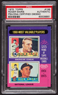"Autographs:Sports Cards, 1975 Topps ""1960 MVPs"" Roger Maris-Dick Groat #198 PSA/DNA Authentic - Signed by Maris. ..."