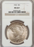Peace Dollars: , 1922 $1 MS66+ NGC. NGC Census: (1274/33). PCGS Population (568/21).Mintage: 51,737,000. Numismedia Wsl. Price for problem ...