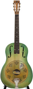 Musical Instruments:Resonator Guitars, 1932/33 National Triolian Green Resonator Guitar, #P2115....