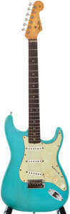 Musical Instruments:Electric Guitars, 1960 Fender Stratocaster Turquoise Solid Body Electric Guitar, #40458....