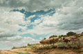 Miscellaneous, CLARK HULINGS (American, 1922-2011). Landscape #2 (Horses Before the Storm), 1973. Oil on canvas. 24 x 36 inches (61.0 x...