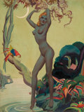 Pin-up and Glamour Art, ALBERTO VARGAS (American, 1896-1982). Jungle Vargas Girl.Watercolor on board. 25 x 19 in.. Signed lower left. ...