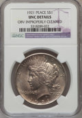 Peace Dollars, 1921 $1 --Obverse Improperly Cleaned-- NGC Details. Unc. NGCCensus: (33/8930). PCGS Population (93/10150). Mintage: 1,006,...