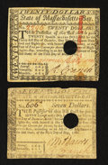 Colonial Notes:Mixed Colonies, Massachusetts $7; $20 May 5, 1780. Fine and Very Fine.. ... (Total:2 notes)