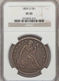 Seated Dollars: , 1859-O $1 VF35 NGC. NGC Census: (6/442). PCGS Population (15/680).Mintage: 360,000. Numismedia Wsl. Price for problem free...