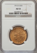 Indian Eagles: , 1913-S $10 AU53 NGC. NGC Census: (71/557). PCGS Population(55/396). Mintage: 66,000. Numismedia Wsl. Price for problem fre...