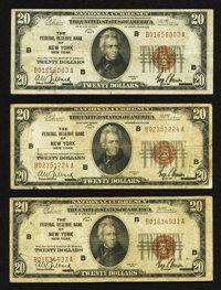 Fr. 1870-B $20 1929 Federal Reserve Bank Notes. Three Examples. Fine-Very Fine